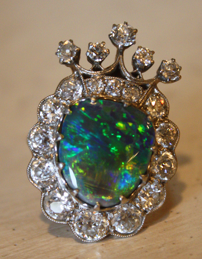 Antique Diamond & Opal Crown Ring Late 1800s-