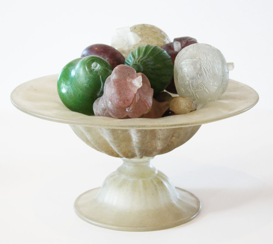 Antique Murano Blown Glass Xlrg Urn Filled with Fruit-