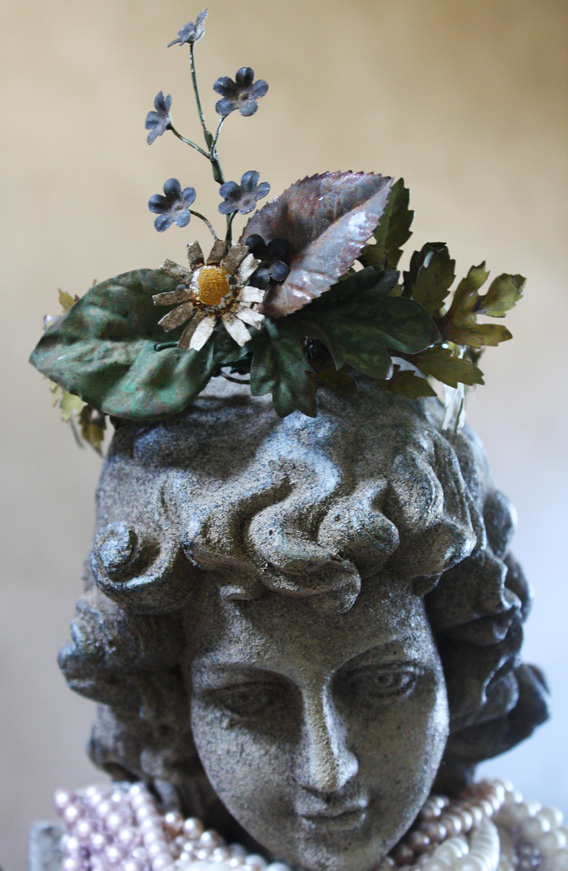Rare Antique French Tole Flowers Crown One of a Kind-