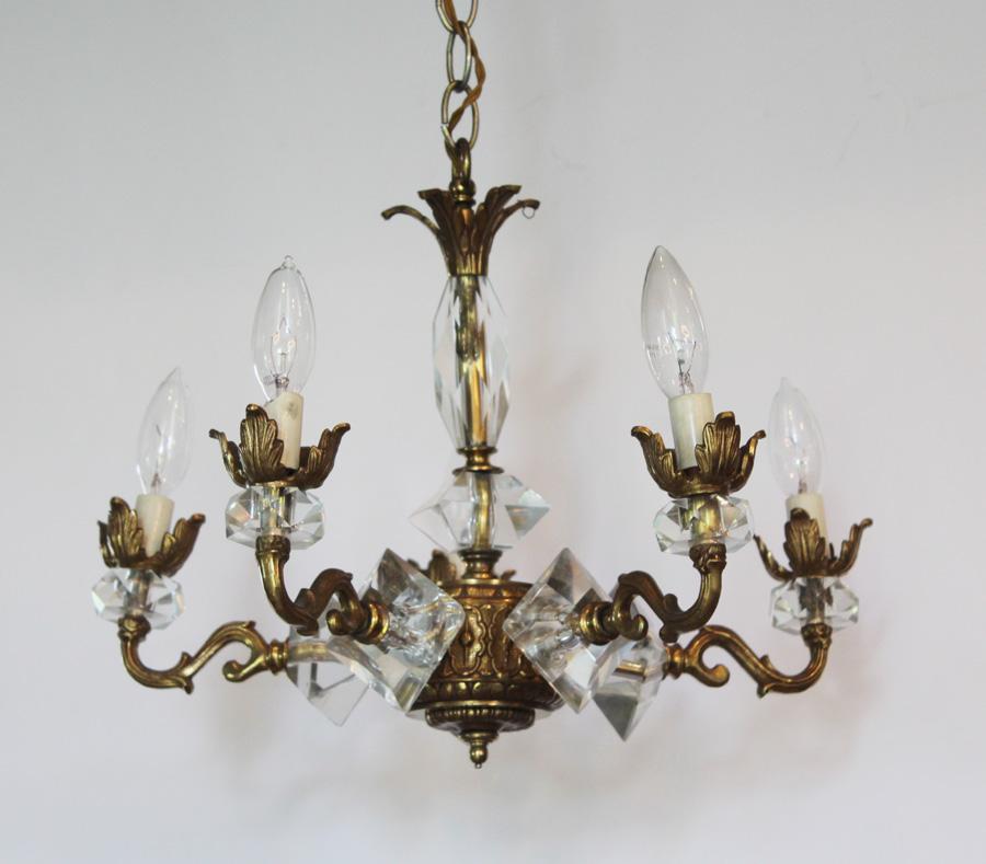 Art Deco Brass & Crystal Antique Chandelier-