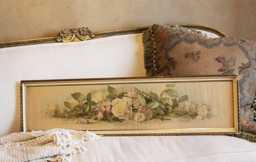 Antique Paul De Long Pre Bride Roses & Violets Yard Long-