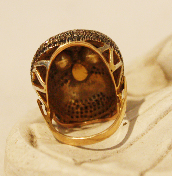 Skelton Skull Ring 18k Yellow Gold Gilt Fine Silver Diamonds-