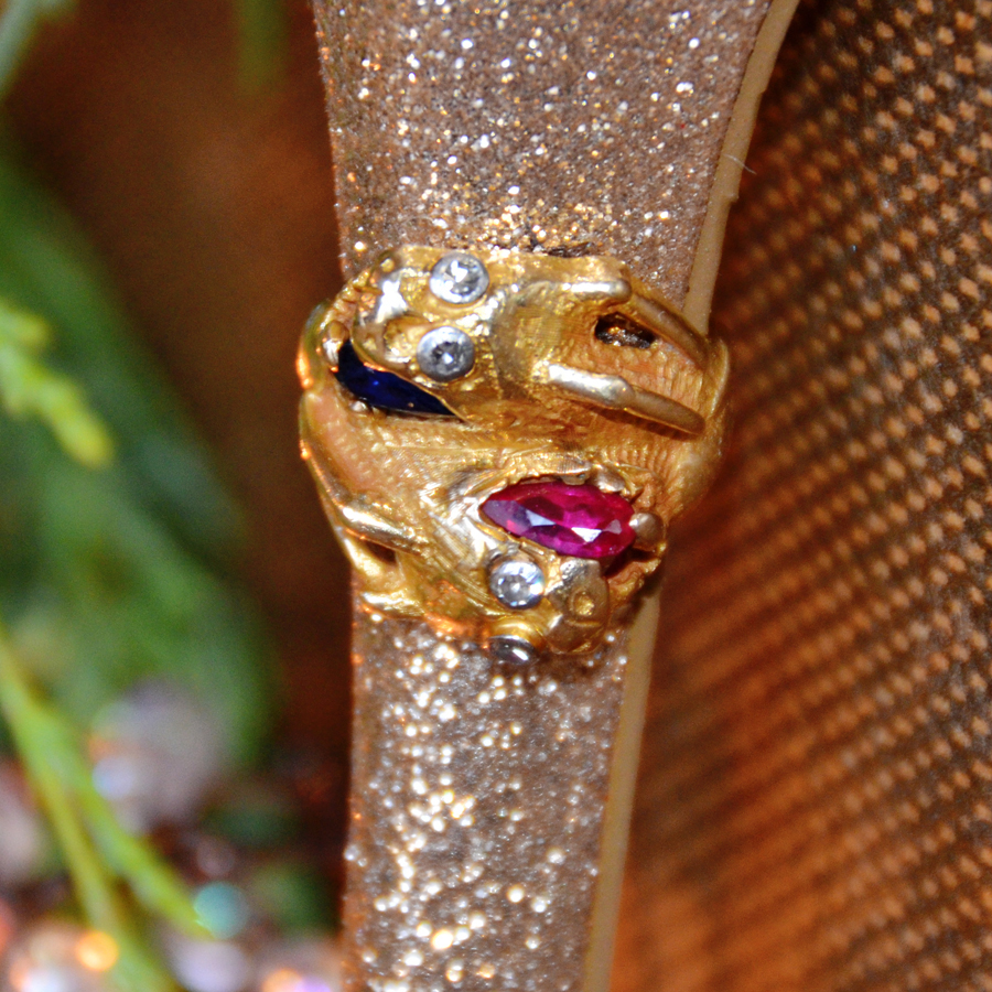 Rare Antique Dragon 14k Gold, Diamond, Ruby & Sapphire Ring-