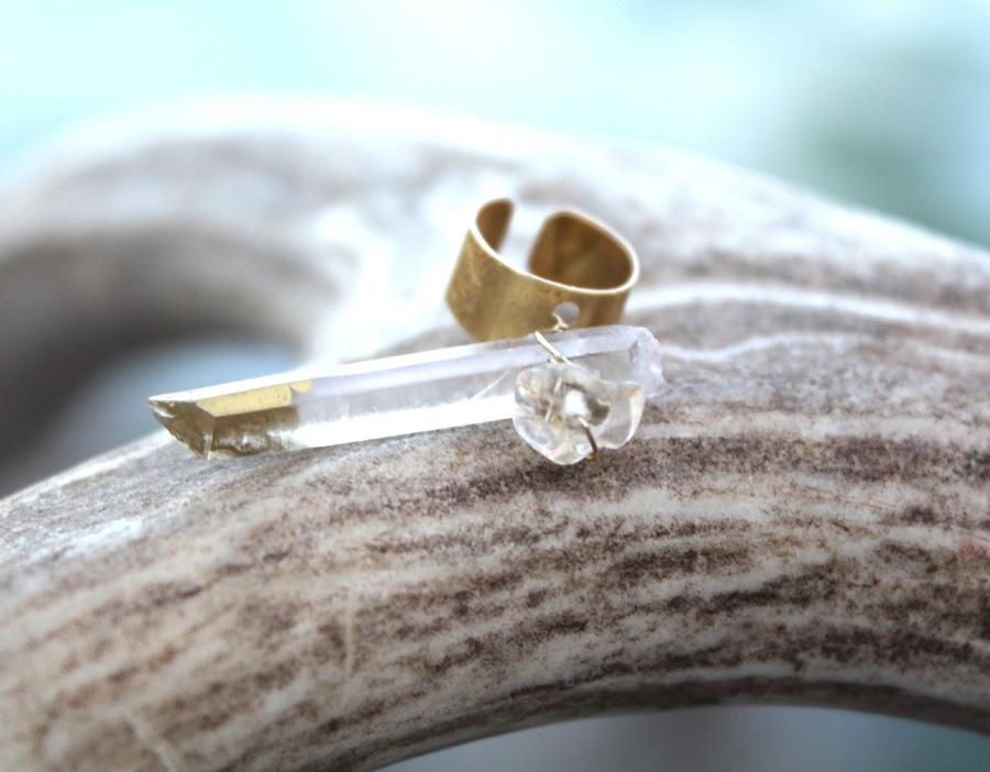 Rock Quartz Crystal Ear Cuff- Rock It Gyspy Designs-