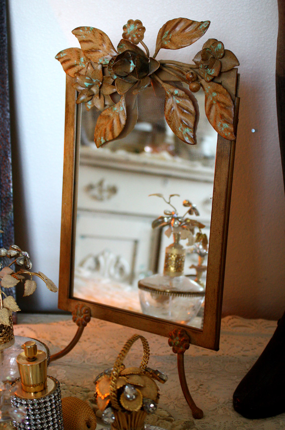 Vintage Style Tole Table Mirror Easel Back-