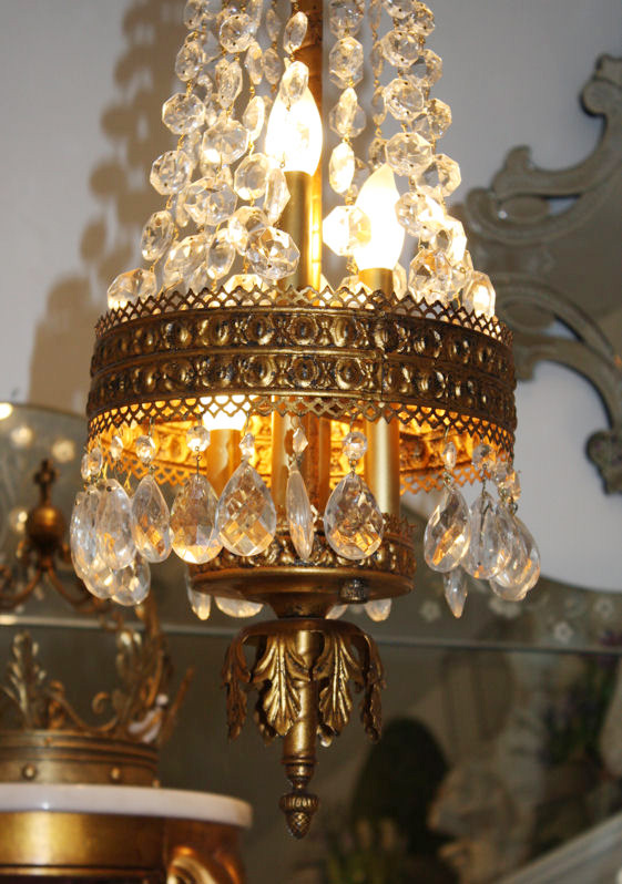 Antique Italian Beaded Crystal Empire Chandelier-