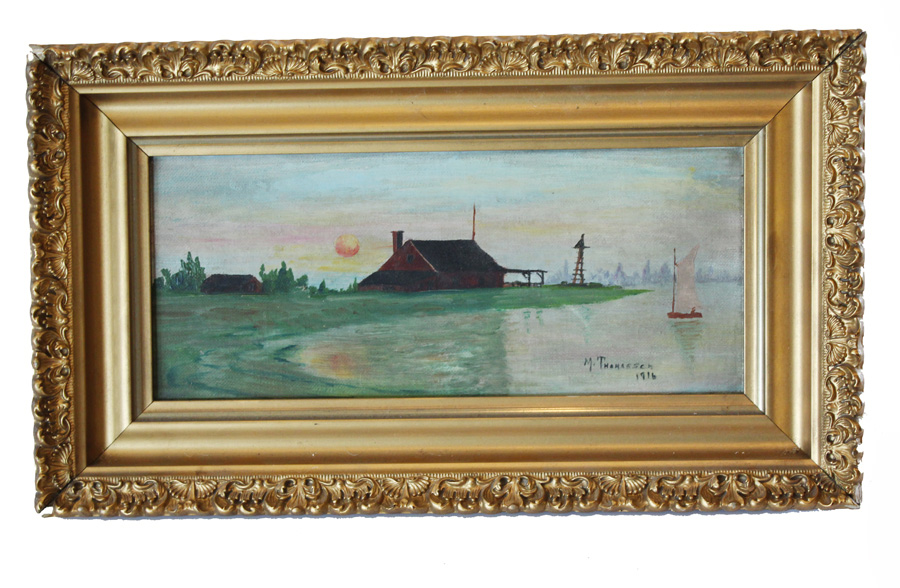 Beautiful Early 1900s Sailboat on Lake Country Scene-