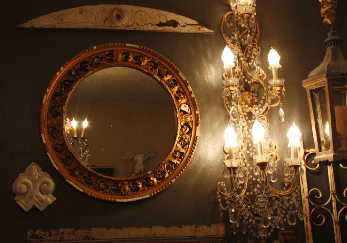 Antique Filligree Round Wall Mirror-
