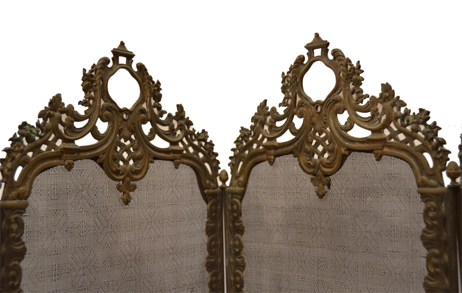 1800s French Barbola Incredible Ornate 4 Panel Firescreen-