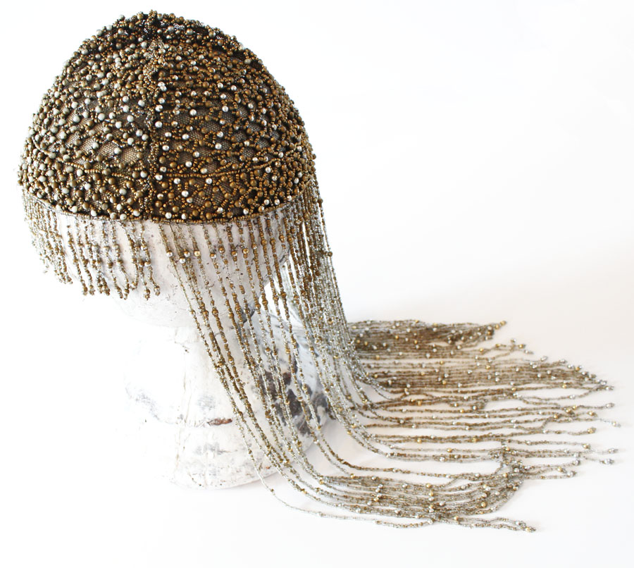Incredible Early 1900s French Flapper Sead Beaded Head Piece-