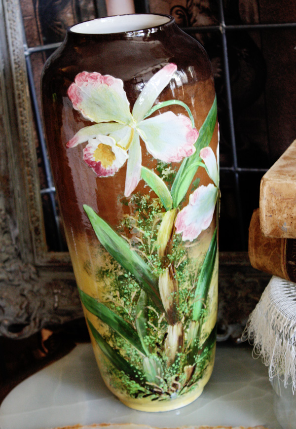 English 19th C. Hand Decorated Pottery Vase Gorgeous-