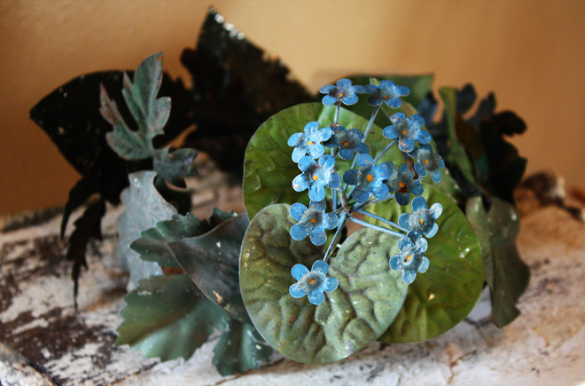 French Crown One of a Kind Antique Tole Flowers-