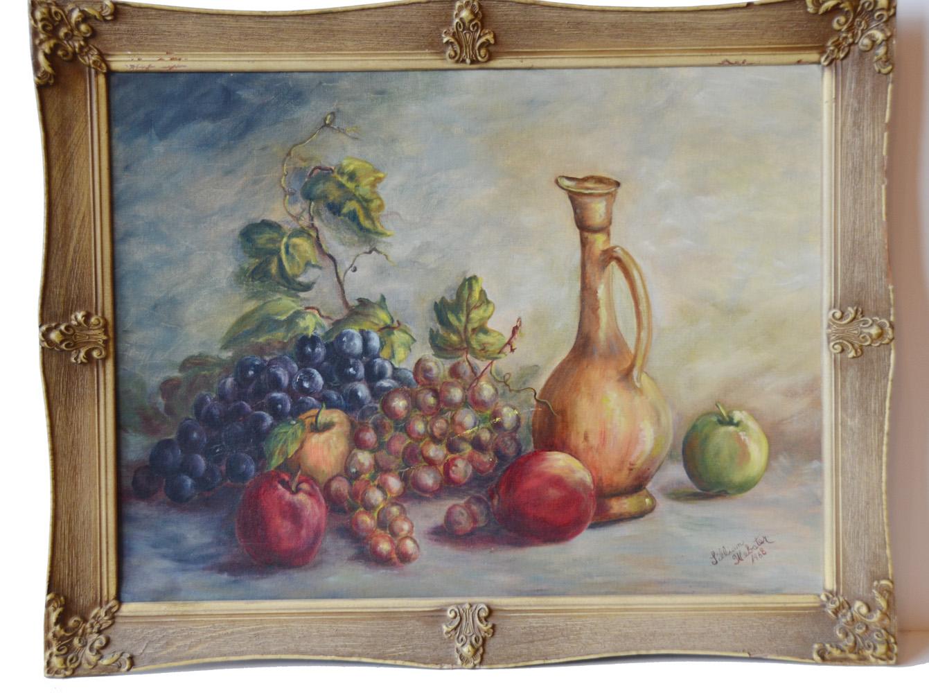 Vintage Oil Painting Still Life Fruit Framed-