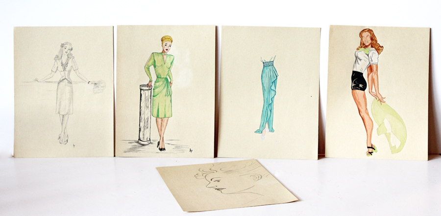 Set of Five Antique French Art Fashion Drawings-