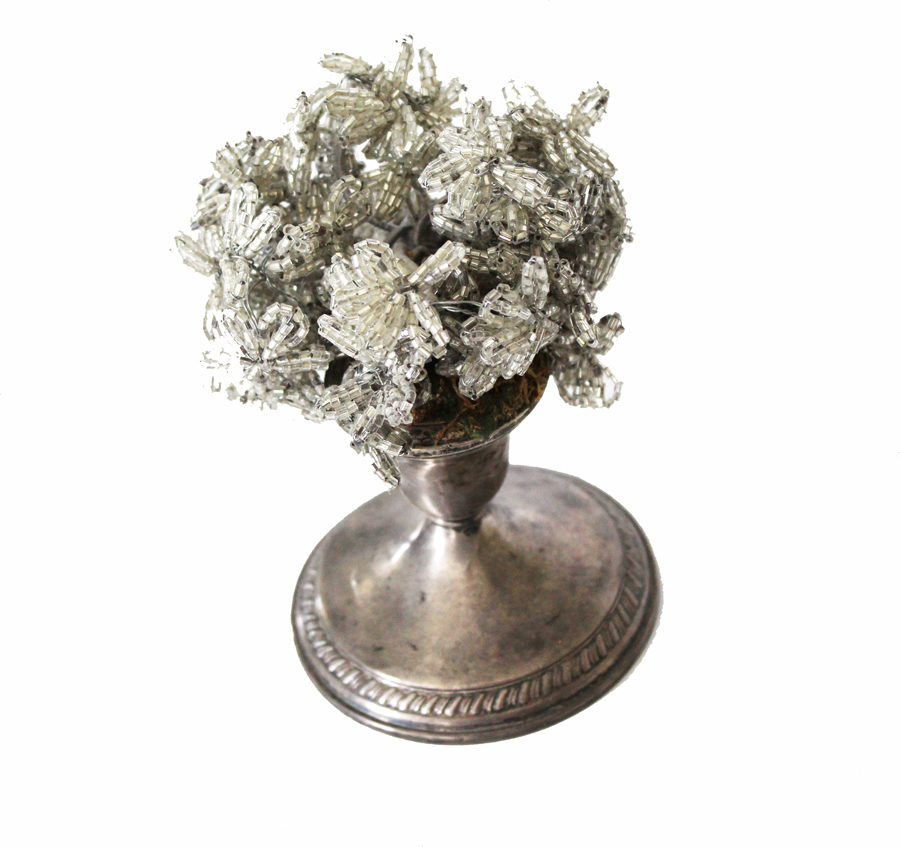 Antique French Sterling Silver Beaded Flower Display-