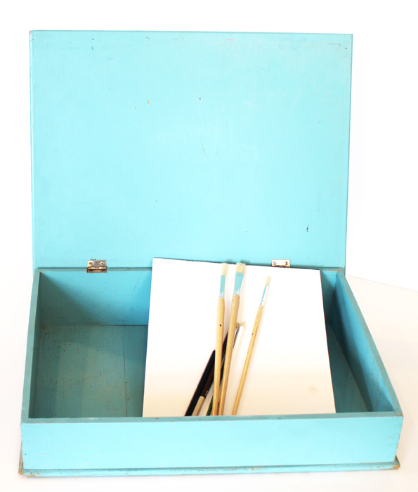 Antique French Blue Writing Artist Desk Handpainted Flowers-