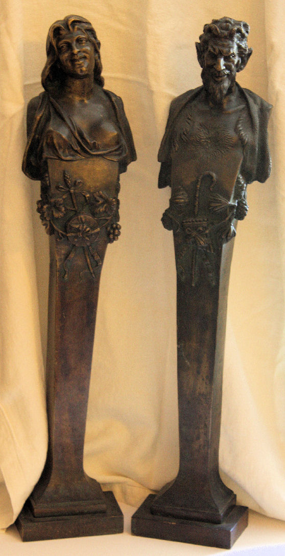 Exquisite PAIR French GOTHIC NUDE BRONZE BUSTS-