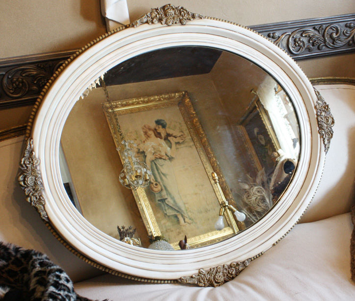 French Antique Carved Wood Gilt & Cream Mirror-