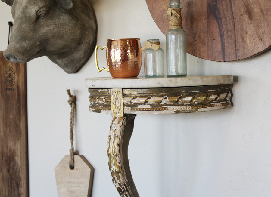 French Hand Carved Demi Lune Wall Shelf w/Marble Top-antique, lighting, chandelier, wall sconces, beaded, French, vintage, shabby chic, beaded sconce, Italian, pendant, European, sconce, wall shelf, gilt, carved wood, table, demi lune