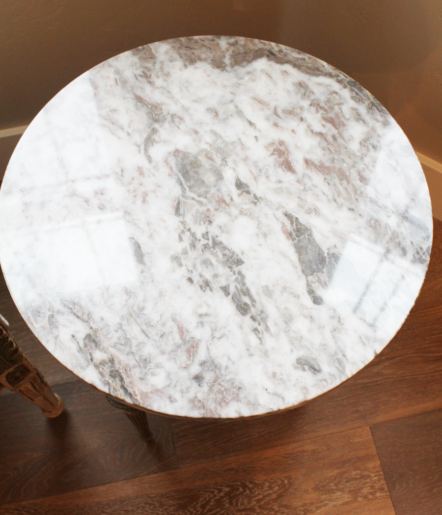 Incredible Antique French Cameo Marble Top End Table-