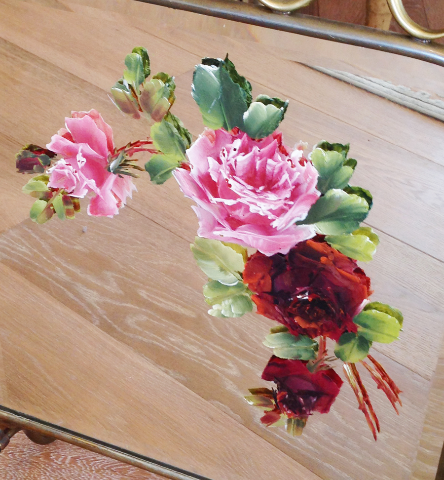 Antique Early 1900s Handpainted Roses Mirror & Brass Firescreen-
