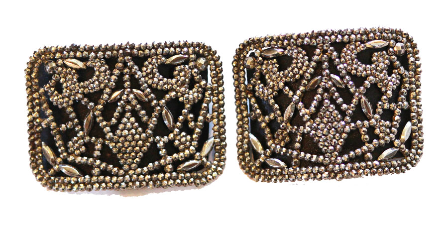 French Cut Steel Late 1800s Shoe Buckle Pair-