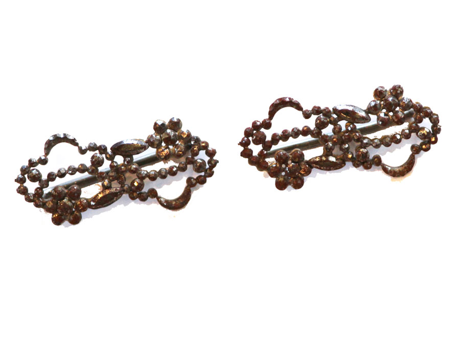 Antique French Pair Rare Cut Steel Buckles Late 1800s-