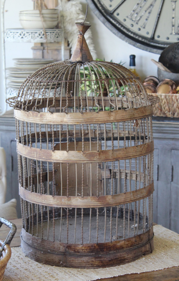 Xlrg Antique French Wire Birdcage Gorgeous Patina-