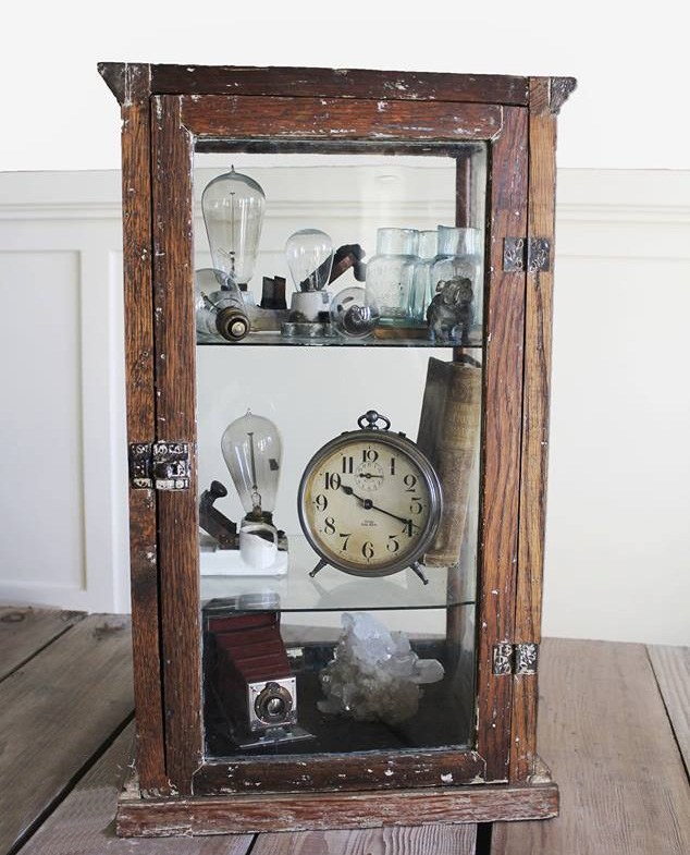 Antique Solid Wood & Old Beveled Glass General Store Cabinet-