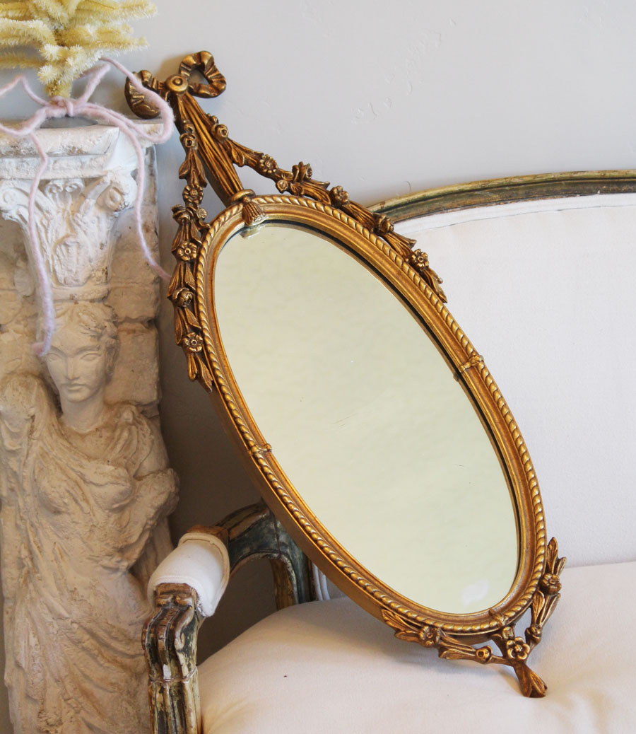 Antique Beautiful Oval Barbola Mirror Ribbons Flower Swags-