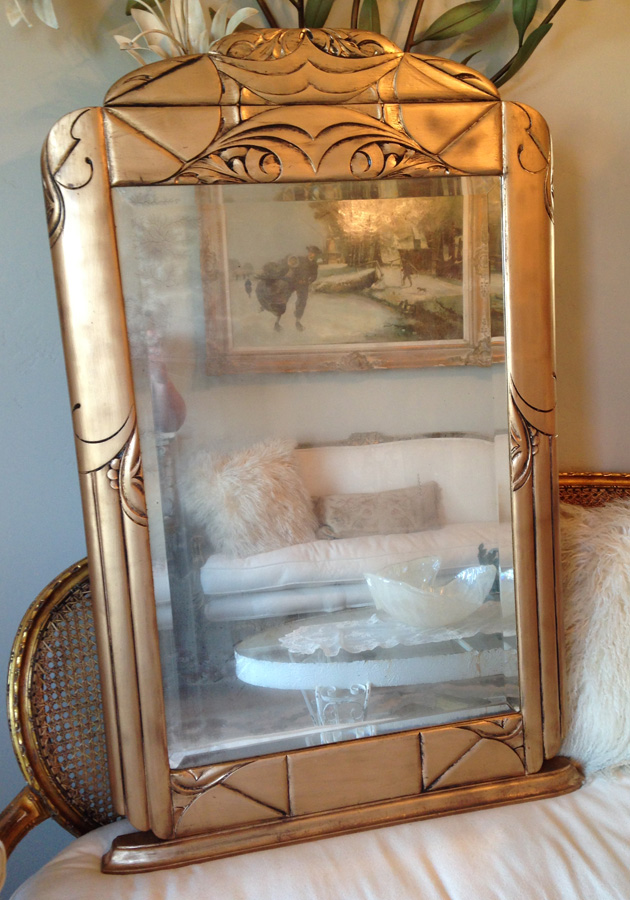 Antique Gorgeous Carved Wood Mirror With Ghosty Beveled Glass-Antique, Mirror, French, Gilt, Ghosty, Old, Beveled, Vintage, Gilt, Carved, Wood