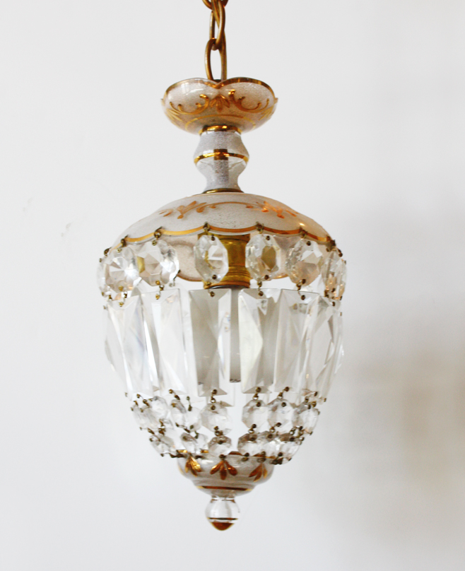 Antique Crystal Dome Chandelier 24k Gilt Gold Etching-