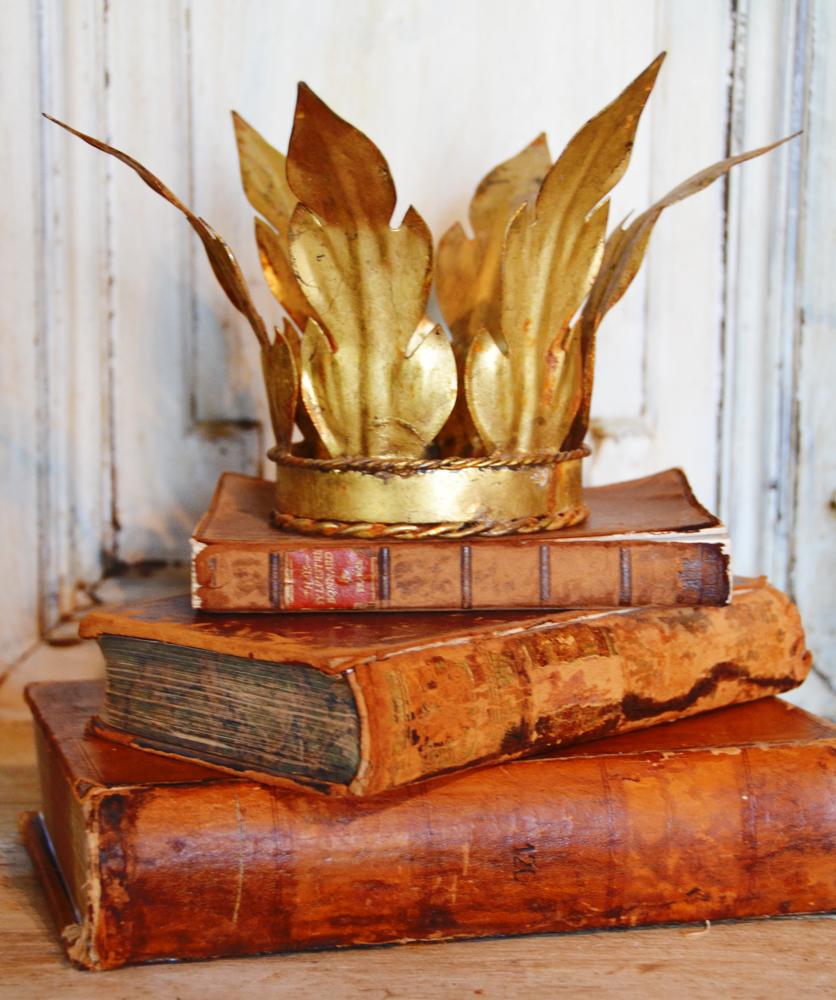 Rare Antique French Laurel Leaf Gilt Crown-