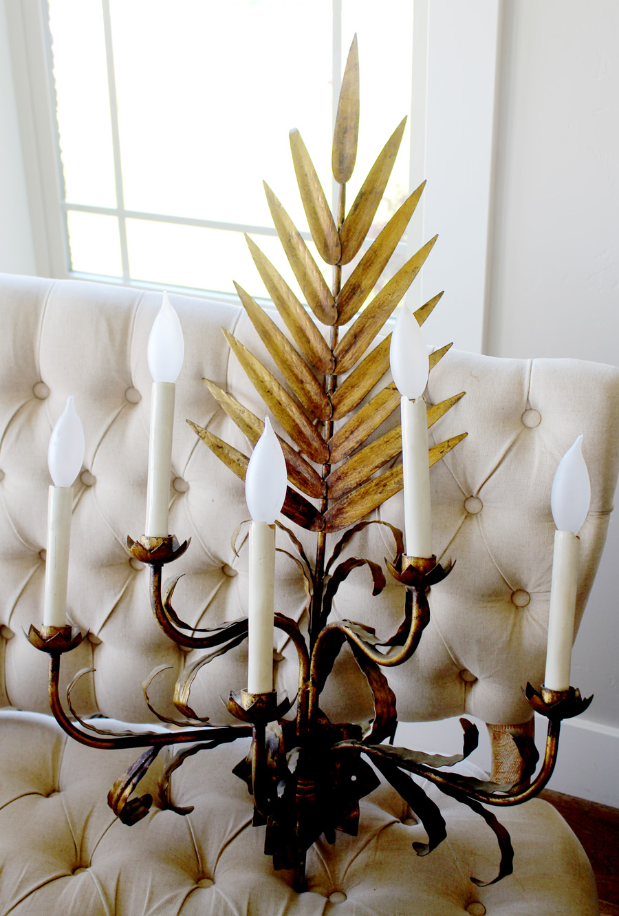 Antique Xlrg Italian Tole Gilt Palm Frond Sconce-
