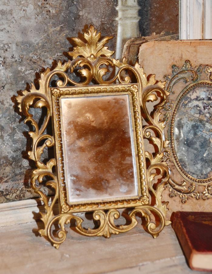 Antique Victorian Art Nouveau Easel Back Table Mirror-