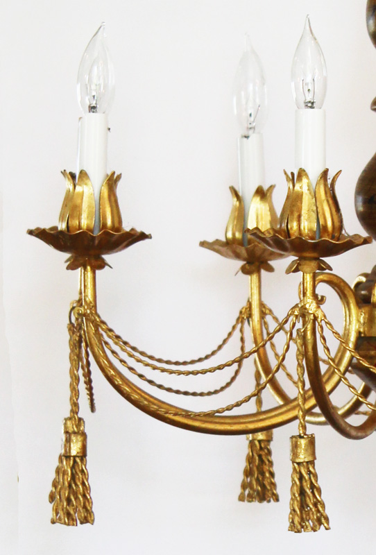 Antique Italian Tole Gilt Metal Tassles Chandelier-antique, lighting, chandelier, wall sconces, beaded, French, vintage, shabby chic, beaded sconce, Italian, pendant, European, sconce