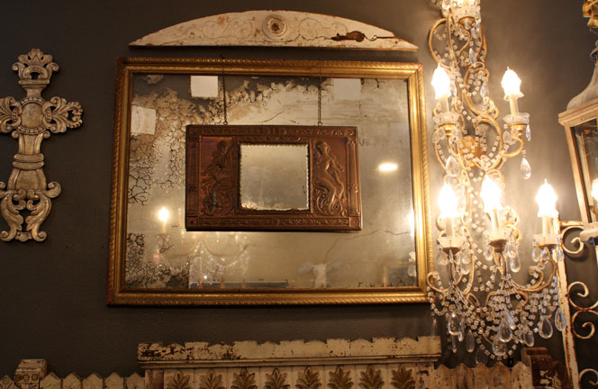 Antique Mirror w/ Tin Goddess Mirror Overlay-
