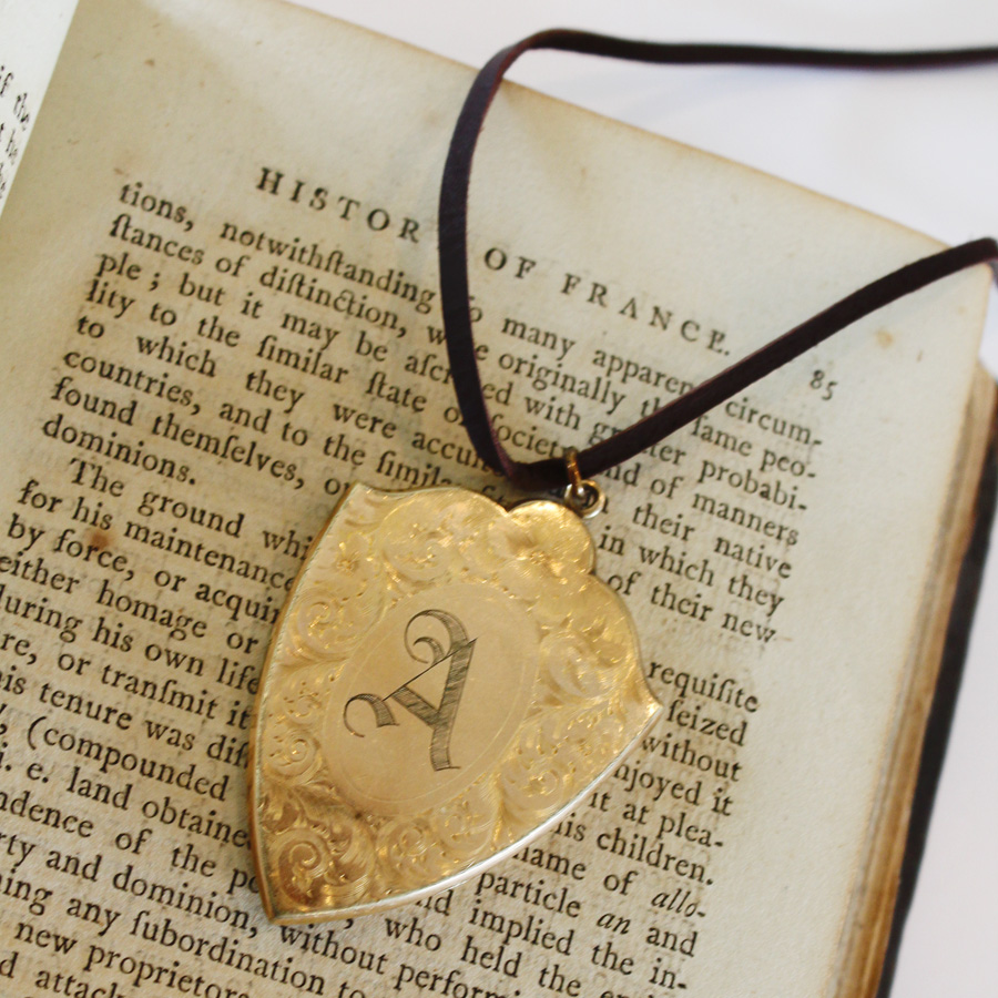 Antique Gold Gorgeous Locket Letter A-