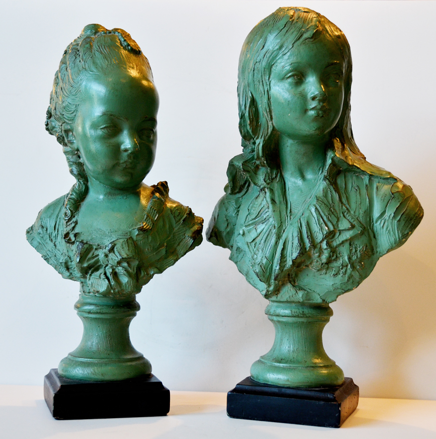 Beautiful Pair Antique Signed Figural Bust Statues-