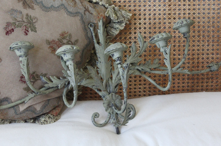 Vintage Wrought Iron Tole Xlarge Wall Sconces Verdigreen-