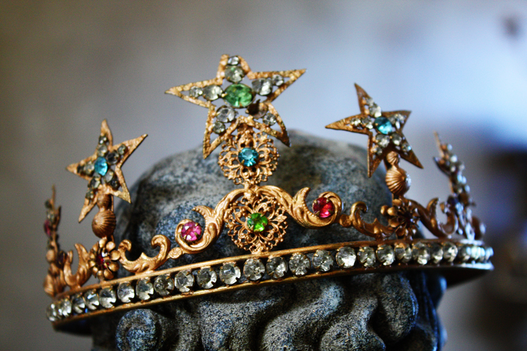 Rare French Jeweled Antique Lifesize Crown 1800s-