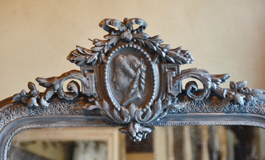 French Grey C. 1900 Antique Trumeau Cameo Mirror Figural-