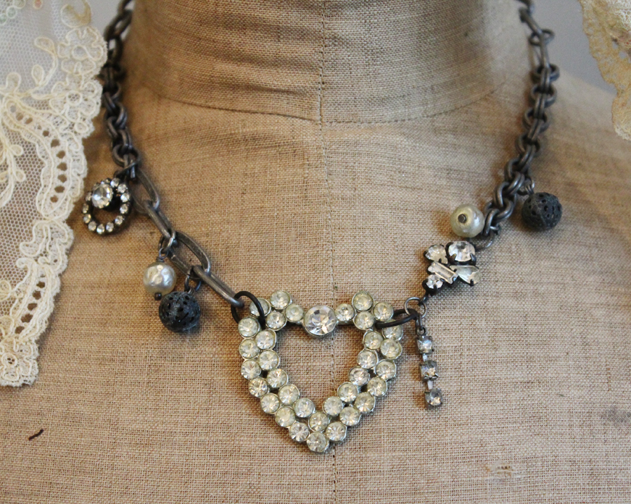 Near To My Heart-Necklace-Altered Art, Jewelry, Estate, Estate Jewelry, French, Antique, Vintage, Earrings, Necklace, Bracelet, Ring, Diamond, Silver, Gold, Designer