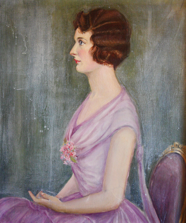 Hollywood Glamour Antique Oil Painting High Society Woman-