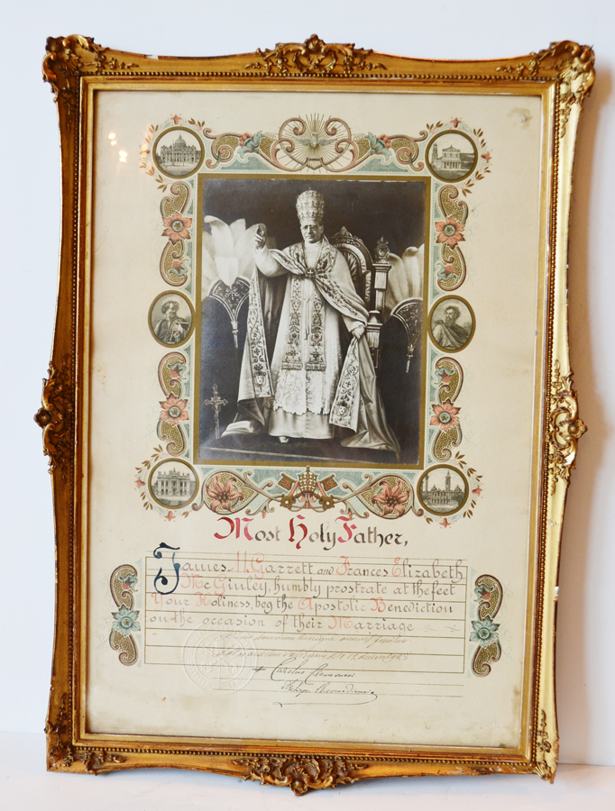 Gorgeous Gilt Framed Holy Father Certificate-
