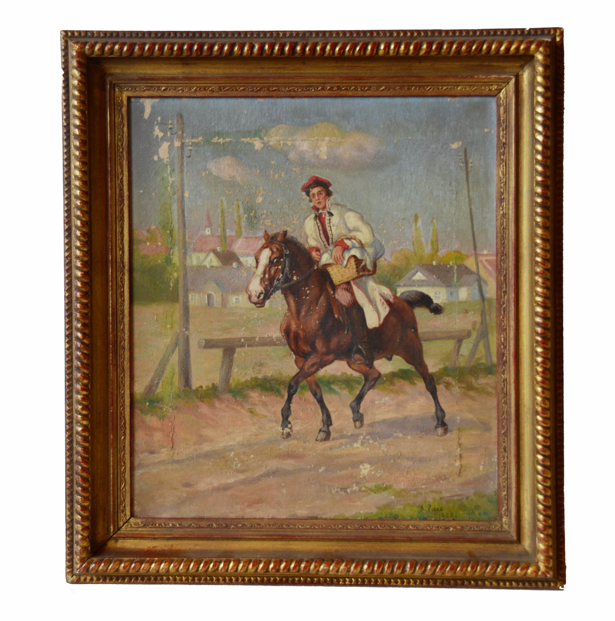 Antique 1900s Equestrian Oil Painting Stunning-