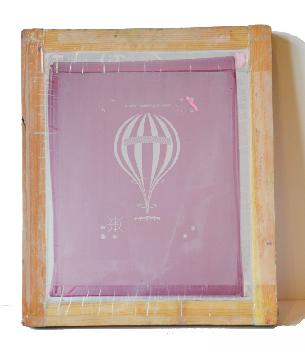 Rare Anthropologie Vintage Framed Screen Print Hot Air Balloon-