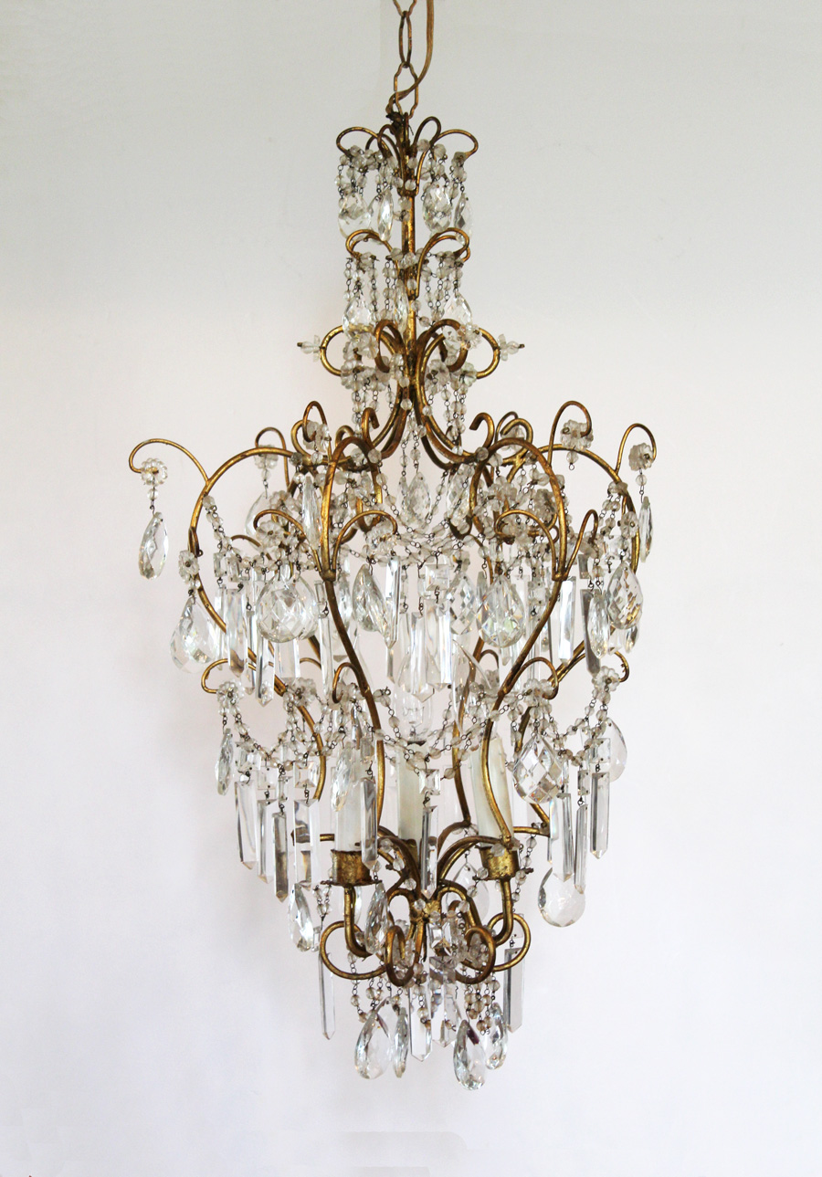 Breathtaking Italian Beaded Antique Chandelier-Italian, Beaded, Chandelier, Antique, French, Lighting, Vintage, Wall Sconce, Crystal, Gilt, Farmhouse, Farm, House, Decor