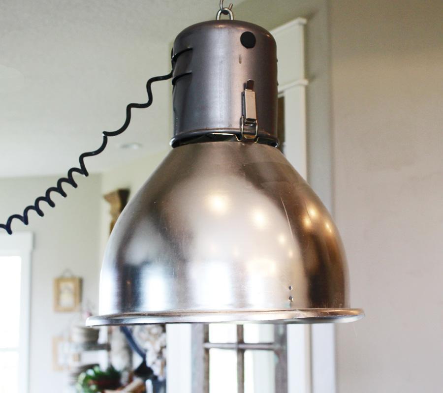 Pair Antique Industrial Xlrg Pendant Lights-