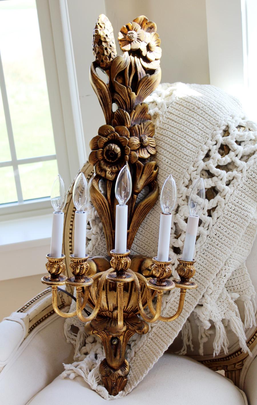 Antique Wall Candelabra Sconce Chandelier Gorgeous Details-